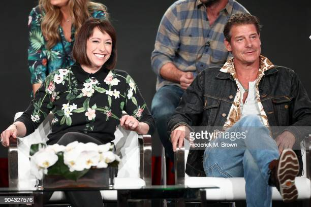 Original cast members Paige Davis and Ty Pennington of 'Trading Spaces' on TLC speak onstage during the Discovery Communications portion of the 2018...