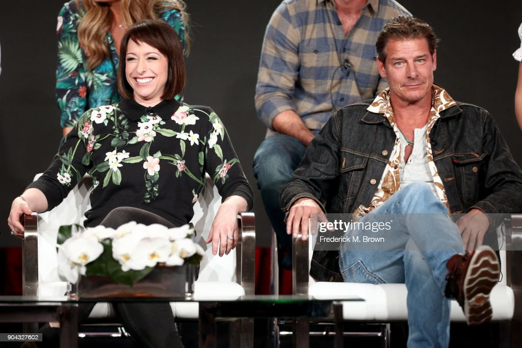 Original cast members Paige Davis (L) and Ty Pennington of 'Trading Spaces' on TLC speak onstage during the Discovery Communications portion of the 2018 Winter Television Critics Association Press Tour at The Langham Huntington, Pasadena on January 12, 2018 in Pasadena, California.