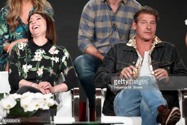 Original cast members Paige Davis and Ty Pennington of'Trading Spaces' on TLC speak onstage during the Discovery Communications portion of the 2018...