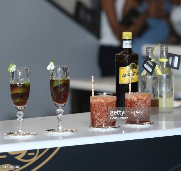 Original cocktails by Alexander Kirles of the United States are presented to judges during the Angostura Global Cocktail Challenge at The House of...