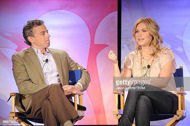 Original Content Mark Stern and actress Emily Rose talks with reporters at the NBC Universal Summer Press Day on April 26 2010 in Pasadena California