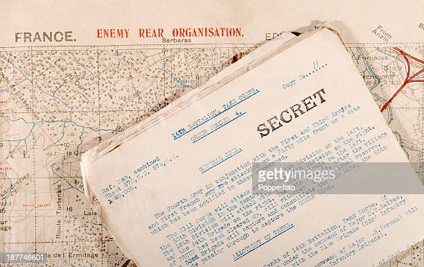 Original documents including secret orders and an accompanying map issued to the 14th Battalion of the Tank Corps for an attack near the village of...