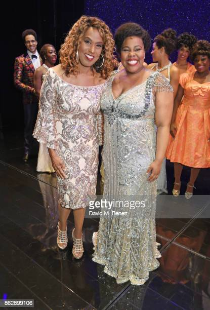 Original Effie White actress Jennifer Holliday poses onstage with cast member Amber Riley of the West End production of Dreamgirls at The Savoy...