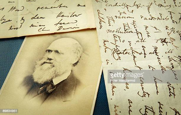 Original letters from Charles Darwin are displayed at the Herbaruim library on March 25, 2009 at the Royal Botanic Gardens, Kew in London. Darwin...