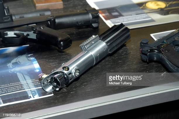 """Original light saber prop belonging to actress Carrie Fisher at the Carrie Fisher pop-up museum """"The Todd Fisher Collection"""" at TCL Chinese Theatre..."""