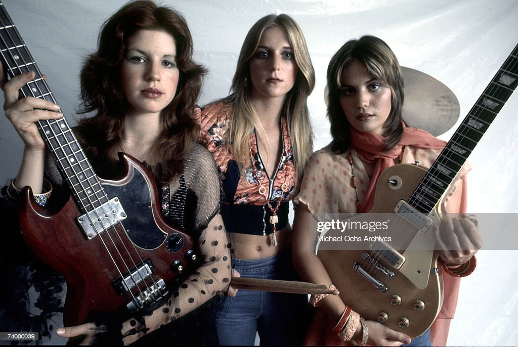 Original lineup of the rock band 'The Runaways' pose for a portrait in Los Angeles in September 1975. (L-R) Micky Steele, Sandy West, Joan Jett.