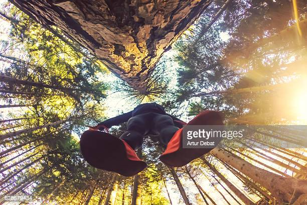 Original low point of view of a guy jumping with the beautiful tall forest outdoor on autumn season in the Montseny nature reserve of Catalonia region with nice vanishing point of the long trees.