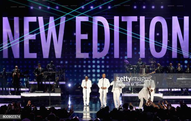 Original members of New Edition perform onstage at 2017 BET Awards at Microsoft Theater on June 25 2017 in Los Angeles California