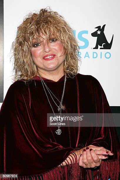 Original MTV VJ Nina Blackwood arrives at the SIRIUS Satellite Radio 80's Party to welcome new onair personnel on June 22 2004 at Ruby Falls in New...