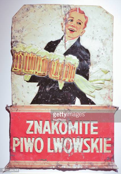 Original of the metal poster of Lviv export beer logo 'Lviv Promotional Company Brewers' inside the Lvivske Brewery museum probably the best...