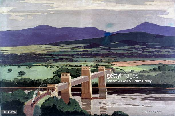 Original oil painting by Norman Wilkinson for use on a London Midland and Scottish Railway poster The Britannia Tubular Bridge was designed by Robert...