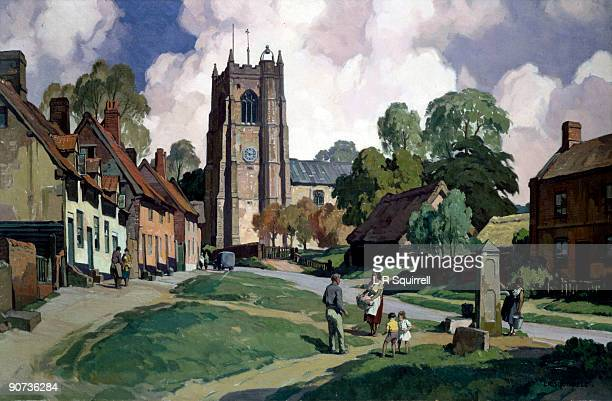 Original oil painting for British Railways poster by Leonard Russell Squirrell showing a view of the village green at Monks Eleigh in Suffolk where...