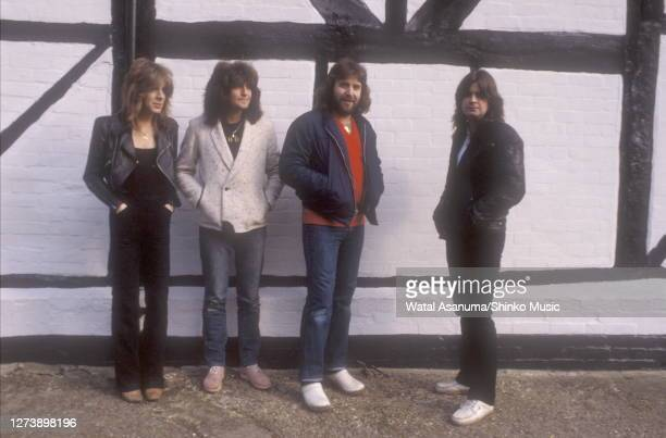 Original Ozzy Osbourne band photo session at Ridge Farm Studio Surrey United Kingdom during the making of the 'Blizzard Of Ozz' album 1980 Randy...