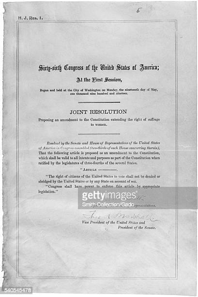 Original paper from congressional session ratifying the Nineteenth Amendment to the United States Constitution granting women the right to vote 1919...
