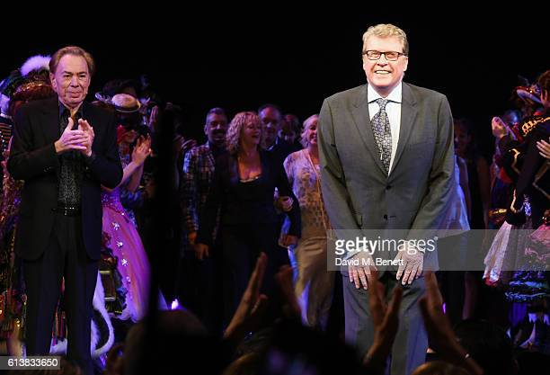 Original Phantom Michael Crawford bows as Lord Andrew Lloyd Webber looks on at The Phantom Of The Opera 30th anniversary charity gala performance in...