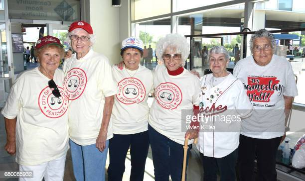 Original players in the All American Girls Professional Baseball League Dolly Konwinski Shirley Burkovich Suzanne Parsons Maybelle Blair Gina Chirpie...