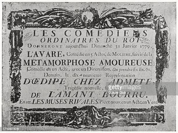 Original poster for theatrical productions of Molière's plays on 31 January 1779 Paris France Comedies include L'Avare Métamorphose Amoureuse Troupe...