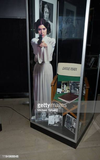 """Original Princess Leia cutout display signed by actress Carrie Fisher at the Carrie Fisher pop-up museum """"The Todd Fisher Collection"""" at TCL Chinese..."""
