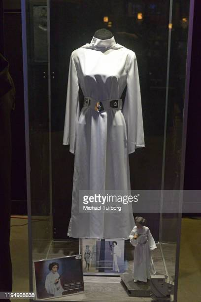 """Original Princess Leia stage costume worn by actress Carrie Fisher at the Carrie Fisher pop-up museum """"The Todd Fisher Collection"""" at TCL Chinese..."""