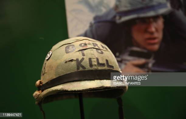 Original props from the film 'Full Metal Jacket' are displayed as part of the Stanley Kubrick exhibition at the Design Museum in Kensington London on...