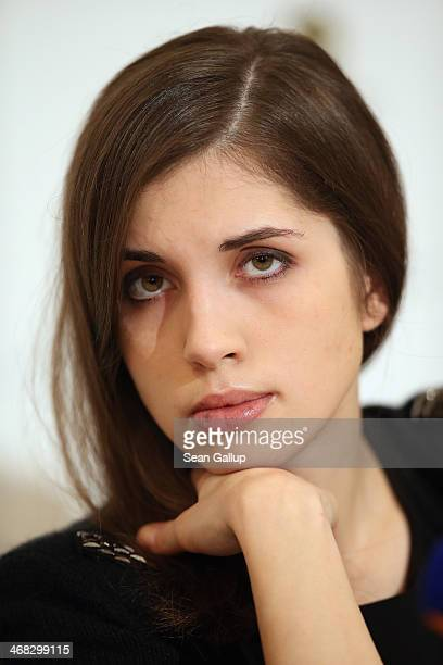 Original Pussy Riot member Nadezhda Tolokonnikova speaks at the Cinema for Peace 2014 press conference at the Regent Hotel on February 10 2014 in...