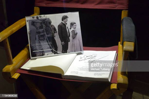 """Original """"Return Of The Jedi"""" shooting script and director's chair belonging to actress Carrie Fisher at the Carrie Fisher pop-up museum """"The Todd..."""