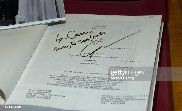 "Original ""Return Of The Jedi"" shooting script belonging to actress Carrie Fisher with original ""Revenge Of The Jedi"" title at the Carrie Fisher..."