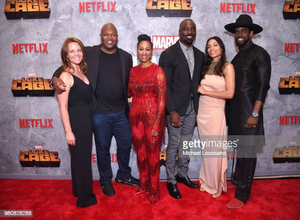 VP Original Series at Netflix Allie Goss Cheo Hodari Coker Simone Missick Mike Colter Rosario Dawson and Mustafa Shakir attend the Netflix Original...
