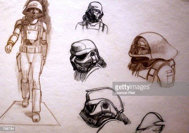 Original sketches of Imperial Storm Troopers by artist Ralph McQuarrie are exhibited April 4 2002 at the exhibit 'Star Wars The Magic of the Myth' at...