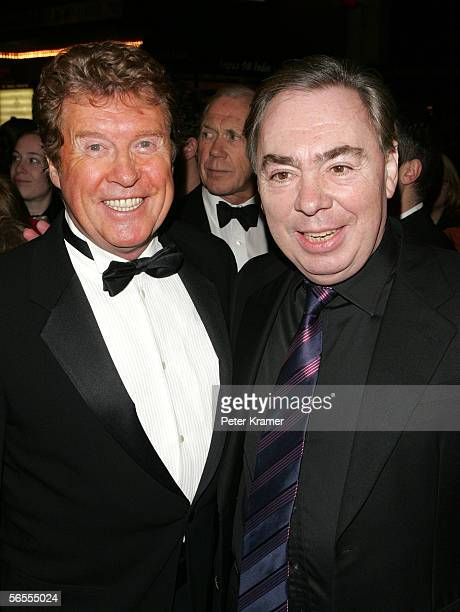 Original star Michael Crawford and composer Andrew Lloyd Webber attend the gala performance of the Phantom of the Opera at the Majestic Theatre...