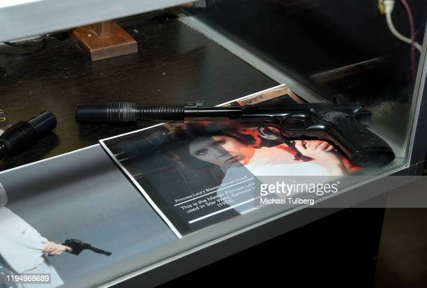 """Original """"Star Wars"""" blaster prop used by actress Carrie Fisher at the Carrie Fisher pop-up museum """"The Todd Fisher Collection"""" at TCL Chinese..."""