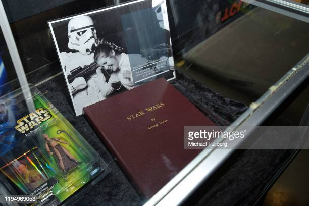 """Original """"Star Wars"""" shooting script belonging to actress Carrie Fisher at the Carrie Fisher pop-up museum """"The Todd Fisher Collection"""" at TCL..."""
