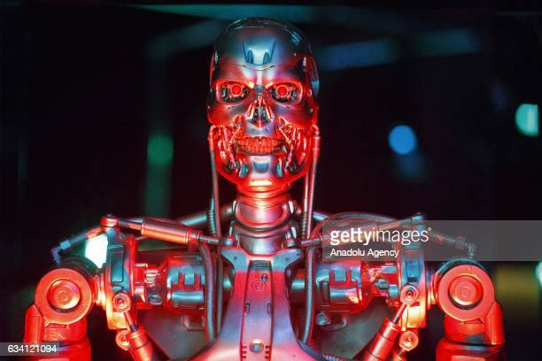 Original T800 Endoskeleton robot used in filming 'Terminator Salvation' is seen at Robots a major new exhibition at Science Museum in London England...