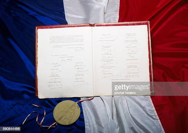 Original text of the Constitution from the 5th French Republic approved by referendum in 1958 and housed at the Chancellery in Paris alongside an...
