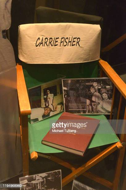 """Original """"The Empire Strikes Back"""" shooting script and director's chair belonging to actress Carrie Fisher at the Carrie Fisher pop-up museum """"The..."""