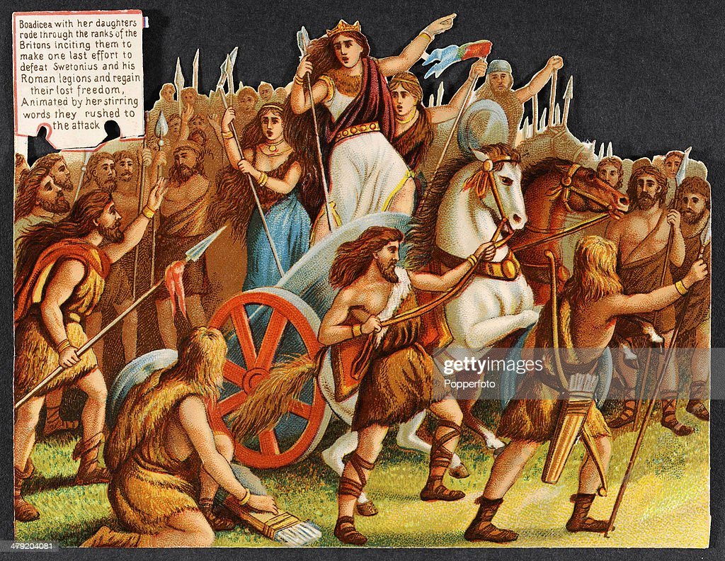 Original Victorian chromolithograph featuring Queen Boadicea with her daughters inciting the Britons to defeat Swetonius and his Romans, published circa 1880. In Victorian Britian the keeping of scrapbooks was a popular pastime and these colourful illustrations were known as 'scraps'. They were intended to be cut out and pasted into the family album or scrapbook.