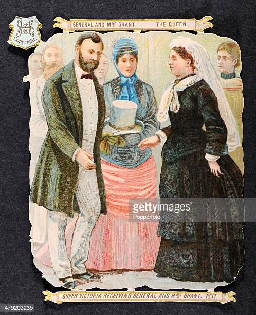 Original Victorian chromolithograph featuring Queen Victoria receiving former United States President Ulysses Grant and Mrs Julia Grant published...