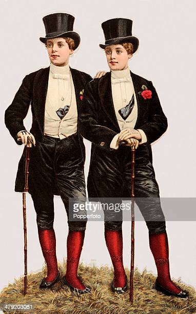 Original Victorian chromolithograph featuring two dandies with top hats, walking sticks and buttonholes, published circa 1880, In Victorian Britain...