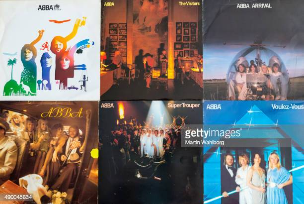 abba original vinyl record covers - abba stock photos and pictures