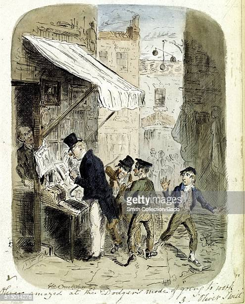 "Original watercolor illustration titled "" Oliver amazed at the Dodger's mode of going to work, The Last Chance"", of children on a city street, an..."