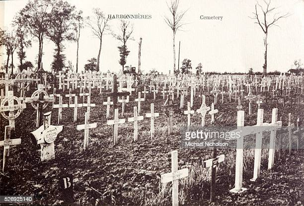 Original World War I cemetery with wooden crosses at Harbonnieres in Picardy France Shortly after this picture was taken these grave markers were...