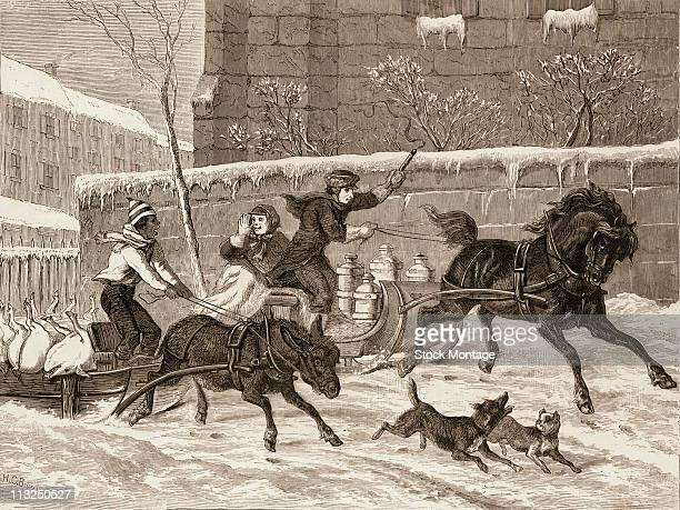 Originally entitiled 'Pork Versus Milk' engraving depicts a race between two sleds one that carries pig carcasses and is pulled by a donkey and the...