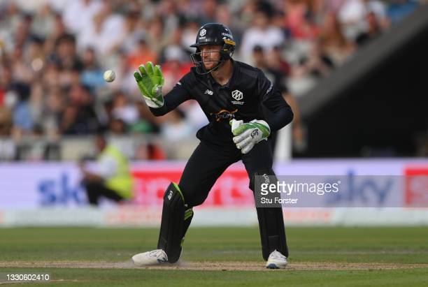 Originals wicketkeeper Jos Buttler in action during the Hundred match between Manchester Originals and Birmingham Phoenix at Emirates Old Trafford on...
