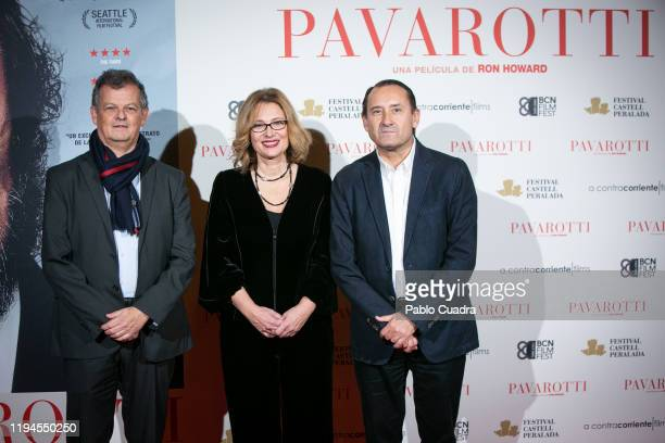 Oriol Aguila Nicoletta Mantovani and Adolfo Blanco attend 'Pavarotti' premiere at Verdi Cinema on December 17 2019 in Madrid Spain