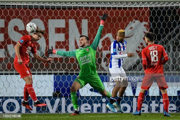 Oriol Busquets of FC Twente FC Twente goalkeeper Joel Drommel Chidera Ejuke of sc Heerenveen Lindon Selahi of FC Twente during the Dutch Eredivisie...