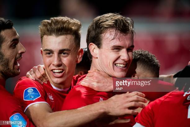 Oriol Busquets of FC Twente Peet Bijen of FC Twente Noa Lang of FC Twente during the Dutch Eredivisie match between FC Twente Enschede and Sparta...