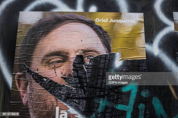 Oriol Junqueras leader of ERC Catalunya and still in pretrial detention appears in already broken election postersSince 2 December 2013 when the...