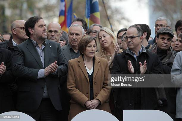 Oriol Junqueras The President of the Catalan Parliament Carme Forcadell accompanied by hundreds of members of the Parliament and Mayors walk to the...