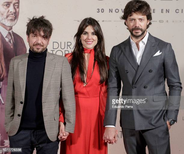 Oriol Paulo Adriana Ugarte and Alvaro Morte attend the 'Durante la tormenta' photocall at Suecia hotel on November 26 2018 in Madrid Spain