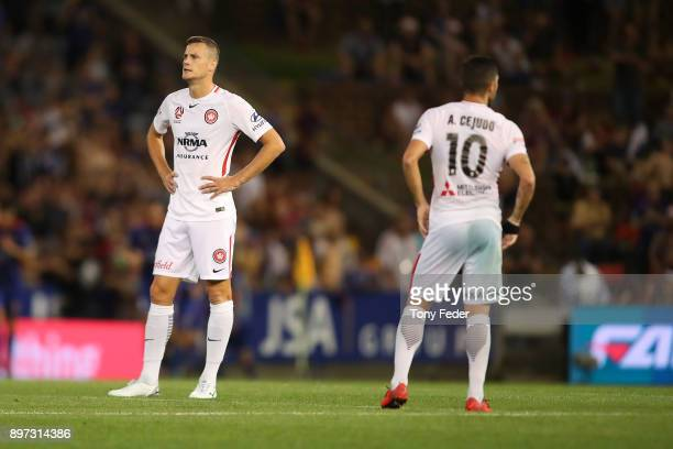 Oriol Riera and Alvaro Cejudo of the Wanderers look dejected during the round 12 ALeague match between the Newcastle Jets and the Western Sydney...
